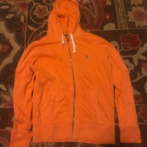 RL polo orange full zip hoodie Sz Medium